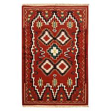 Large Wool Kilim Navajo Southwestern Bohemian Runner Rug 5'x7' Handmade Rug