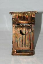 Vintage Metal Copper Wind Up Animated Musical Boy in Outhouse