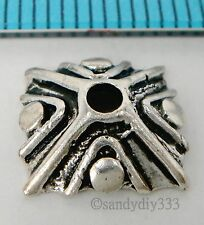 2x BALI STERLING SILVER SQUARE FLOWER BEAD CAP SPACER BEAD 10.3mm #598