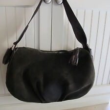 Moshino Green suede Hobo with brown leather trim.Lime green silky lining. Tassle