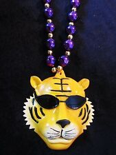 "Cool ""Sunglasses Mike the Tiger"" Mardi Gras Purple/Gold Necklace Bead Lsu (B705)"