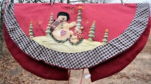 "42"" Christmas Holiday Plush Tree Skirt 3D Snowman Berry Red blue plaid edge"