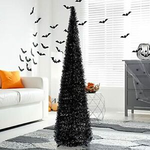 5' Black Tinsel Pop-Up Artificial Halloween Christmas Tree,Collapsible Pencil