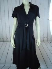SIGNATURE ROBBIE BEE Dress 10 Black Satin Poly Spandex Fun Party Faux Jewel Belt
