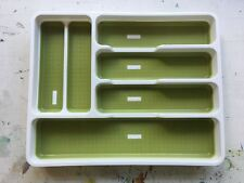 Addis Anti-Slip Kitchen Drawer Organiser Cutlery White Green 33cm x 40.5cm