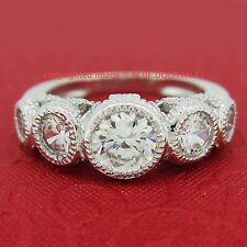 Antique Genuine Solid 9ct White Gold Engagement Wedding Ring Simulated Diamonds