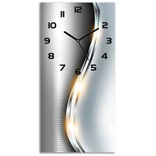 Wanduhr Glasuhr 30x60 Silberwelle