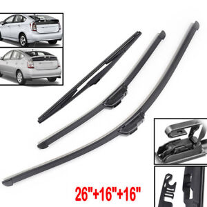 3Pcs Rear Front Windows Wiper Blades Set Windshield For Toyota Prius 2003-2015