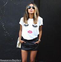 Women's Summer Charming Eyes Lips Printed Ladies Fashion Top Blouse T-shirt