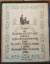 Vintage Antique 1935 Framed Sampler Cross Stitch Embroidery Needlework Mother