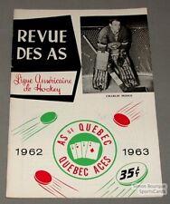 1962-63 AHL Quebec Aces  Program Charlie Hodge Cover
