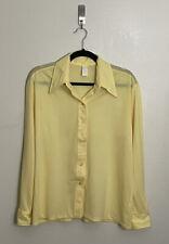 New listing Mens Vtg City Slickers Button Front Long Collar Bright Yellow Disco Shirt Sz 44