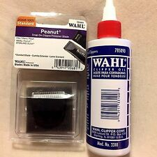WAHL PROFESSIONAL PEANUT TRIMMER BLADE BLACK #2068-1001 PLUS WAHL BLADE OIL 4OZ