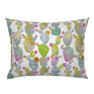 Cacti Cactus Watercolor Desert Flower Pink Green Boho Pillow Sham by Roostery