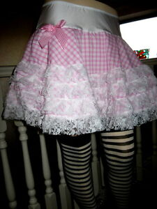 Adult Baby Pink Frilly Skirt White red black check Lace Party Lolita cosplay
