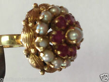 Vintage 14k gold ring rubies and pearls cluster style size 5 3/4 stamp MO or MD