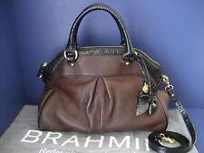 $345 NWT Brahmin Louise Rose Dark Brown Duxbury Smooth Leather Satchel C11649DB