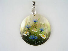 Wild Flowers Pendant Necklace Shell Mother Of Pearl Hand Painted