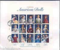 US CLASSIC AMERICAN DOLLS SHEET FIRST DAY COVER