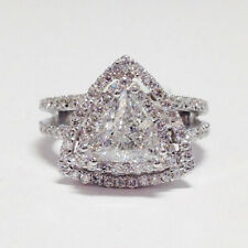 1.80 Ct Trillion Cut Diamond Engagement Solitaire Ring 14K White Gold Band 6.5 7