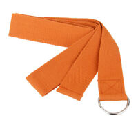 Orange Cotton D-ring Belt Figure Leg Fitness Training Gym Yoga Stretch Strap