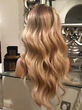 Silk, Swiss lace, blonde human hair wig, hand knotted, ombre, lace front