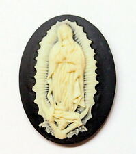 4 of 40x30 mm Cream over Black Lady of Guadalupe Virgin Mary Madonna Cameos Nice
