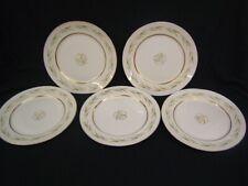 "Lot of 5 Arcadia China 10"" Dinner Plates Green, Purple, Yellow w/Gold Rim VGC"