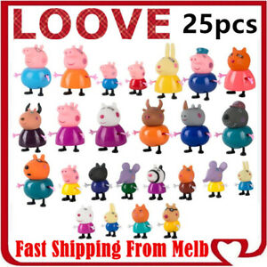 Peppa Pig Playset Family Gift Kid Toy Character Doll Figure Plastic PVC Cake Top