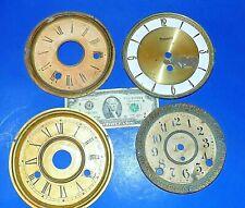 Lot of 4 Antique Metal Clock Dial Pans for Parts - Seth Thomas, Forestville, +