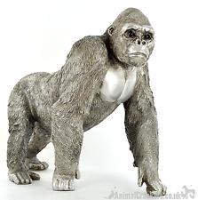 More details for large 33cm silver effect standing gorilla ornament decoration monkey lover gift