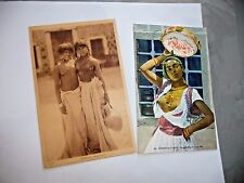 VINTAGE LOT OF 2 ORIGINAL FRENCH POSTCARDS NUDE N. AFRICAN WOMEN