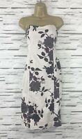 OASIS Beige Floral Pencil Wiggle Sleeveless Dress Size 8 Occasion Wedding Party