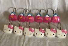 Hello Kitty Shower Curtain Hooks Set of 12  Used Kitty & Purse Design Pink White