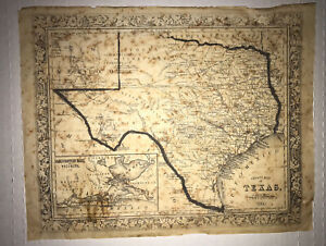 Antique Original 1860 County Map Of Texas ~ Scarce