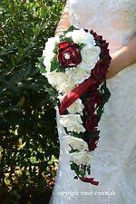Exclusiver Brautstrauss  creme und bordeaux Rosen, mit Bling, Hochzeit, neu