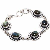 "Labradorite Handmade Ethnic Style Jewelry Bracelet 7-8"" VED3834"