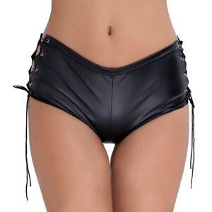 Women Lace G-String Open Crotch Briefs Panties Latex Thongs Lingerie Underwear