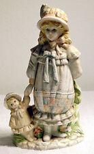 Vintage Porcelain/Ceramic Girl & Doll holding Flowers behind her back -Music Box