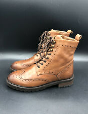 Dune Ladies PURELY T Lace Up Brown Leather Brogue Ankle Boots Size 6 39 RRP £140