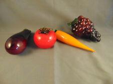 4 Hand blown vintage glass fruits grapes tomato carrot eggplant kitchen deco art