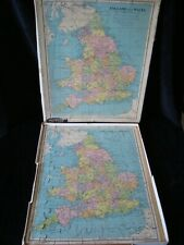 Vintage Plywood Jigsaw Puzzle of England & Wales in Box 1960