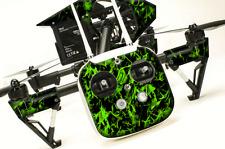 DJI Inspire 1 graphic skins w/6 Batteries Transmitter Decals | Flames Green