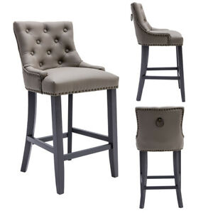 Deep Button Faux Leather Barstools With Knockerback   Free UK P&P   Modern
