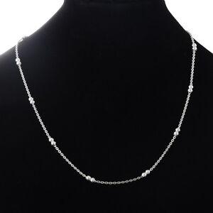 1 Herren Damen Silberkette Edelstahl Ankerkette Halskette Doppelkugeln 49.9cm on