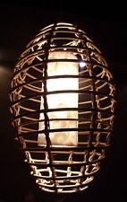 """Inusual hecho a mano Blanco Y Rattan Shell """"Bird cage"""" Colgante Cortina de lámpara de Bali 55cm"""