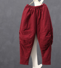 Women Retro Chinese Cotton Blend Loose Harem Long Trousers Warm Pants Chic New
