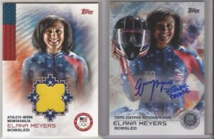 2014 Topps Olympics ELANA MEYERS Autograph CARD #20/30 + Jersey RELIC Bobsled