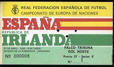 TICKET ENTRADA FOOTBALL FUTBOL SPAIN EIRE IRELAND ZARAGOZA ESPAÑA 27-04-1983