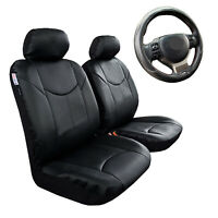 Black Leather Seat Covers Front Set For Nissan Dualis Airbag Compatible
